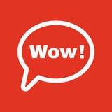 A bolha do discurso com o ícone da palavra uau Internet e bate-papo, símbolo em linha liso Fotografia de Stock Royalty Free