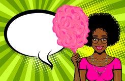 A bolha do discurso da mulher do estilo do pop art anuncia Imagens de Stock