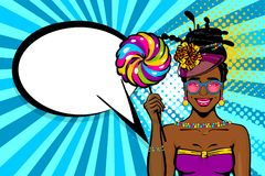 A bolha do discurso da mulher do estilo do pop art anuncia Foto de Stock Royalty Free