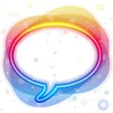 Bolha do discurso das luzes de néon do arco-íris Fotografia de Stock Royalty Free