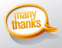 Bolha do discurso de muitos agradecimentos. Fotos de Stock Royalty Free