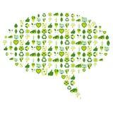 A bolha do discurso encheu-se com os ícones relacionados ambientais do bio eco Fotografia de Stock Royalty Free