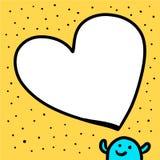 Bolha do discurso do formulário do coração e ilustração tirada da criatura mão azul no estilo dos desenhos animados ilustração stock