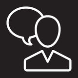 A bolha do usuário e do discurso alinha o ícone, sinal branco de fala do esboço da pessoa, ilustração do vetor ilustração do vetor