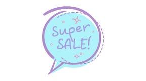 Bolha na moda do discurso da venda com texto escrito à mão da venda super Imagem de Stock