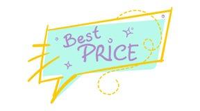Bolha na moda do discurso da venda com texto escrito à mão do melhor preço Imagem de Stock