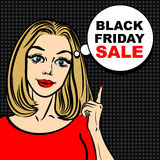 Bolha preta da venda de sexta-feira e mulher do pop art para apontar o dedo Imagens de Stock