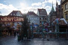 bolha Quadrado do Natal wroclaw celebration Noite justa Natal justo fotos de stock royalty free