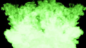Bolha verde-clara fluorescente da pintura na água, tinta de muitas gotas Este é 3d rende o tiro no movimento lento para a tinta ilustração stock