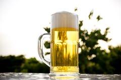 Bolhas brancas douradas da cerveja Foto de Stock