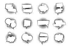 Bolhas cómicas do discurso Desenhos animados monocromáticos do balão do diálogo da nuvem retro da conversa para falar para conver ilustração do vetor