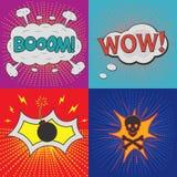 Bolhas cómicas do discurso Grupo de efeitos para a banda desenhada do projeto ilustração royalty free