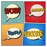 Bolhas cômicas ajustadas Expressões wow, Mmmm, bravo, sucesso Imagem de Stock