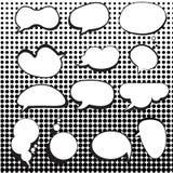 Bolhas cômicas do discurso ajustadas com reticulação Imagem de Stock