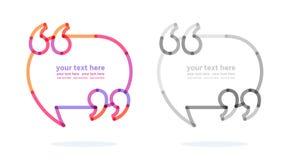 Bolhas com cotação - marcas do discurso ilustração stock