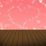 Bolhas cor-de-rosa abstratas do coração com fundo de madeira Imagens de Stock