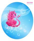 Bolhas cor-de-rosa do dragão e de sabão Imagens de Stock