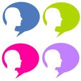 Bolhas da conversa da cabeça da silhueta Fotografia de Stock Royalty Free