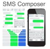 Bolhas de conversa do molde dos sms do telefone esperto Fotografia de Stock Royalty Free