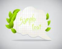 Bolhas de papel do discurso com folhas Fotos de Stock Royalty Free