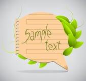 Bolhas de papel do discurso com folhas Foto de Stock