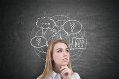 Bolhas de pensamento da mulher e do discurso Imagens de Stock