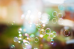 Bolhas de sabão, fundo abstrato Imagem de Stock