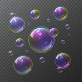 Bolhas de sabão Grupo isolado de borbulhagem do vetor da lavagem clara abstrata do arco-íris do sabão do champô da bolha da espum ilustração do vetor