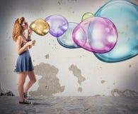 Bolhas de sabão coloridas Imagem de Stock