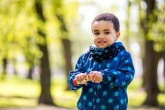 Bolhas de sopro do menino no parque imagens de stock