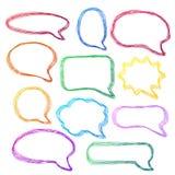 Bolhas desenhados mão, coloridas do discurso Foto de Stock Royalty Free