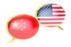 Bolhas do discurso, conceito da conversação Chinês-EUA rendição 3d ilustração do vetor