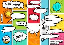 Bolhas do discurso da banda desenhada Fotografia de Stock