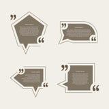 Bolhas do discurso da marca das citações ajustadas Imagens de Stock