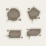 Bolhas do discurso da marca das citações ajustadas Fotos de Stock Royalty Free