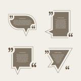 Bolhas do discurso da marca das citações ajustadas Fotografia de Stock Royalty Free