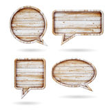Bolhas do discurso do fundo de madeira da textura Foto de Stock Royalty Free