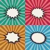 Bolhas do discurso do pop art e formas vazias da explosão no grupo retro do vetor do fundo do por do sol do super-herói ilustração do vetor