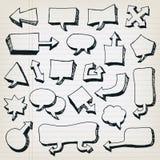 Bolhas do discurso dos desenhos animados da garatuja ajustadas Imagens de Stock Royalty Free