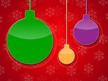 Bolhas do Natal no fundo vermelho Fotos de Stock