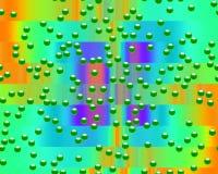 Bolhas em luzes alaranjadas verdes dos contrastes, textura, fundo abstrato ilustração stock