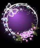 Bolhas, flores e borboleta Imagem de Stock Royalty Free