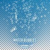 Bolhas na água no fundo transparente Bolha realística lustrosa e ilustração translúcida da bolha do aqua ilustração stock