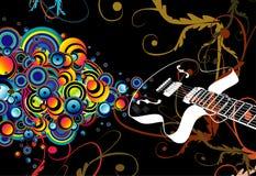 Bolhas retros do canto da guitarra ilustração stock
