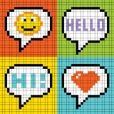 Bolhas sociais do discurso da coligação do pixel: Smiley, ele Imagens de Stock Royalty Free
