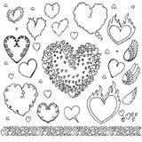 Bolhas tiradas mão dos elementos do coração ajustadas Imagem de Stock