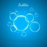 Bolhas transparentes brilhantes do vetor criativo abstrato do conceito para a Web e aplicações móveis isoladas no fundo azul Fotografia de Stock Royalty Free