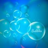 Bolhas transparentes brilhantes do vetor criativo abstrato do conceito para a Web e aplicações móveis isoladas no fundo azul Imagens de Stock Royalty Free