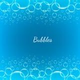 Bolhas transparentes brilhantes do vetor criativo abstrato do conceito para a Web e aplicações móveis isoladas no fundo azul Fotografia de Stock