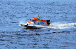 Bolide on water on line on Neva at Formula 1 Power Stock Images